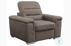 Alfio Tan Chair With Pull Out Ottoman