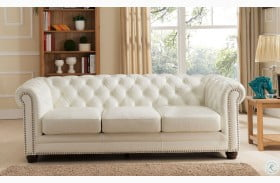 Monaco Pearl White Leather Sofa