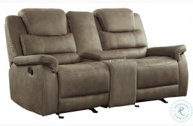 Shola Brown Double Glider Reclining Loveseat With Center Console