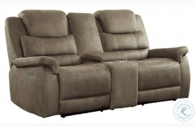Shola Brown Power Double Reclining Loveseat With Center Console And Power Headrests