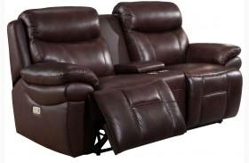 Summerlands II Brown Adjustable Headrest Power Reclining Console Loveseat