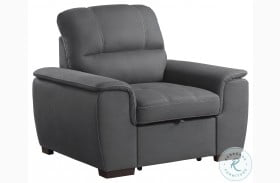 Andes Gray Chair With Pull Out Ottoman