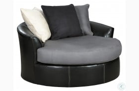 Jacurso Charcoal Oversized Swivel Accent Chair