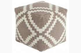 Geometric Gray/White Pouf