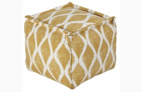 Bruce Yellow/White Pouf