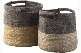 Parrish Natural And Black Basket Set of 2