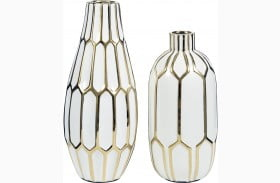 Mohsen Gold and White Vase Set of 2