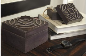 Marquise Antique Black Box Set of 2