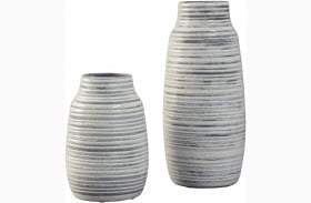 Donaver Gray and White Vase Set Set of 2