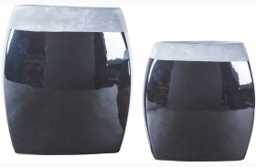 Derring Black and Nickel Vase Set of 2