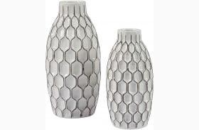 Dionna White Vase Set of 2