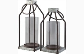 Diedrick Gray And Black Lantern Set of 2