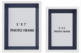 Obie White and Navy Photo Frame Set of 2
