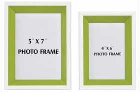 Obie White and Green Photo Frame Set of 2