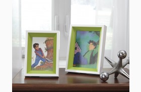 Obie White and Green Photo Frame Set of 2