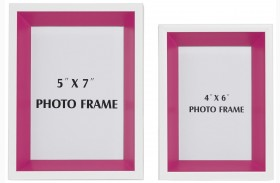 Obie White and Pink Photo Frame Set of 2