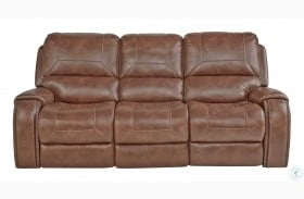 Waylon Mesquite Brown Reclining Sofa with Drop Down Table