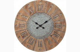 Payson Antique Gray and Natural Wall Clock