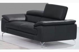 A973 Black Italian Leather Sofa