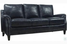 Mendy Midnight Blue Leather Sofa