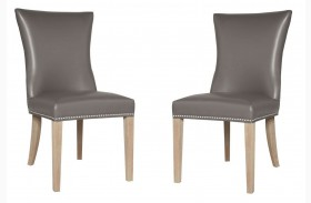 Avery Stone Wash Pebble Bonded Leather Dining Chair Set of 2