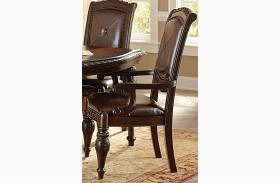Antoinette Warm Brown Cherry Arm Chair Set of 2