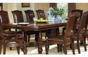 Antoinette Warm Brown Extendable Double Pedestal Dining Table
