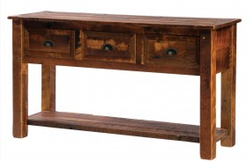 Barnwood 3 Drawers Console Table with Barnwood Legs & Shelf