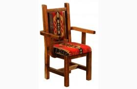 Barnwood Artisan Traditional Finish Upholstered Arm Chair