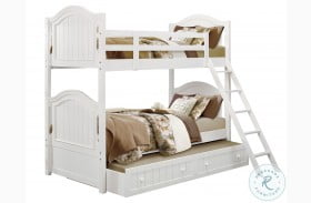 Clementine White Youth Bunk Bed with Trundle