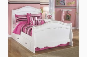 Exquisite White Full Panel Single Underbed Storage Bed