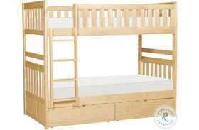 Bartly Natural Pine Twin Over Twin Bunk Bed With Storage Boxes