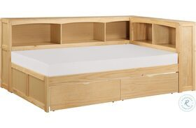 Bartly Natural Pine Twin Bookcase Corner Bed With Storage Boxes