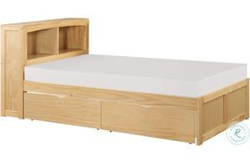 Bartly Natural Pine Twin Bookcase Bed With Storage Boxes