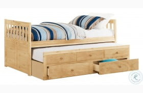 Bartly Natural Pine Twin Storage Trundle Bed