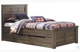 Juararo Dark Brown Youth Panel Bed with Stoarge