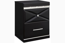 Fancee Black Two Drawer Nightstand