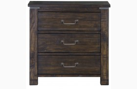 Pine Hill Rustic Pine Wood Drawer Nightstand