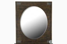 Pine Hill Rustic Pine Wood Portrait Oval Mirror