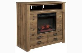 Cinrey Medium Brown Media Chest with Fireplace Insert