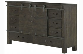 Abington Weathered Charcoal Sliding Door Dresser