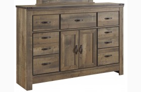 Trinell Brown Dresser with Fireplace Option