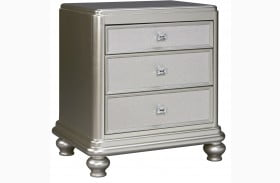 Coralayne Silver 3 Drawer Nightstand