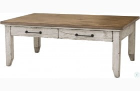 Bear Creek Rustic Ivory And Honey Cocktail Table