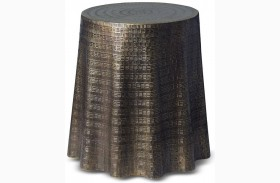 Bijou Antiqued Brass Drape End Table