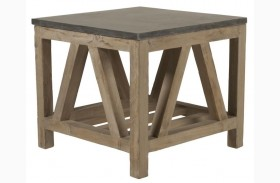 Blue Smoke Gray and Blue Stone End Table