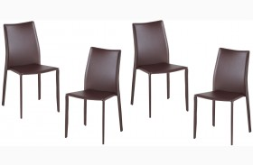 C031B Brown Dining Chairs Set of 4