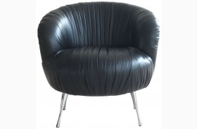 Verona Black Top Grain Leather Accent Chair