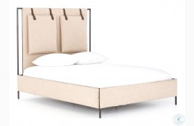 Irondale Palm Ecru Leigh Queen Upholstered Panel Bed