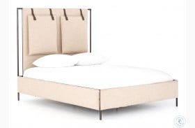 Irondale Palm Ecru Leigh King Upholstered Panel Bed
